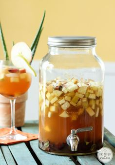 APPLE CIDER SANGRIA 1 1/2 cups cinnamon simple syrup* 1 box Black Box white wine (I used Sauvignon Blanc.) 2 cups Apple Pie Vodka 2 cups ginger brandy 4 cups apple cider 1 cup grapes, sliced in half 4 apples, cubed 4 pears, cubed 8 – 10 cinnamon sticks