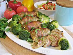 Pieczone roladki z mięsa mielonego z brokułem Beef, Chicken, Vegetables, Food, Tejidos, Meat, Essen, Vegetable Recipes, Meals