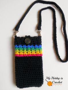 """Crochet Phone Cases My Hobby Is Crochet: """"Midnight Rainbow"""" - Crochet Phone Cover with Detachable Strap; Tutorial - Trinity Stitch in the round - """"Midnight Rainbow"""" Phone Cover - Free Crochet Pattern Tutorial Crochet Phone Cover, Crochet Case, Crochet Shell Stitch, Crochet Handbags, Crochet Purses, Crochet Designs, Crochet Patterns, Pochette Portable, Cell Phone Pouch"""