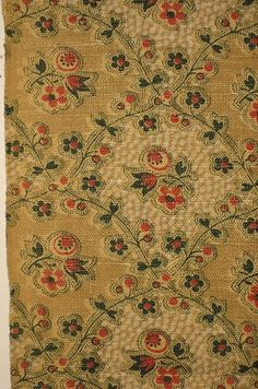 Charming Antique Early 20th C French Floral Linen Print Fabric 8572 | eBay