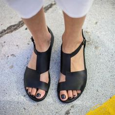 Big Size Women Breathable Hollow Peep Toe Buckle Black Flat Sandals is comfortable to wear. Shop on NewChic to see other cheap women sandals on sale. Simple Sandals, Flip Flop Shoes, Flip Flops, Casual Heels, Sandals For Sale, Strap Heels, Ankle Strap Flats, Leather Heels, Open Toe Flats