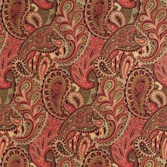Fabric Designs - Burgundy or Red or Rust and Coral or Orange or Persimmon and Dark Green and Light Geen color Contemporary and Floral and Foliage and Paisley pattern Brocade or Matelasse and Damask or Jacquard type Upholstery Fabric called by KOVI Fabrics Paisley Fabric, Paisley Pattern, Peacock Fabric, Paisley Design, Red Fabric, Paisley Print, Contemporary Upholstery Fabric, Upholstery Foam, Upholstery Repair