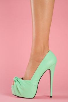 Mint shoes with a pink sole