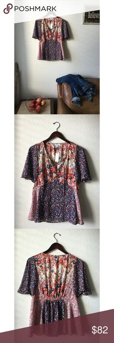 Anthropologie Palo Alto Blouse By: HD in Paris. this flirty floral piece is romantic in style and sassy in shape. Pairs well with a jean jacket and flat pointed heels, or with a moto jacket and fun boots! Size: 6 Dimensions; L: 25 B: 18 Fibers: 100% Polyester Condition: New with tags Anthropologie Tops