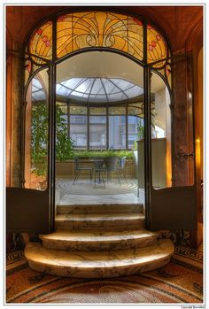Art Nouveau interior of Hannon House (today Hotel Hannon), designed by architect Jules Brunfaut in 1903, Brussels, Belgium.