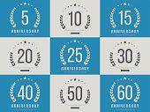 Set of 10 、20 、30 、40 、50 ジュビリーのロゴ。