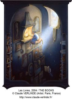 Les Livres, 2004 / THE BOOKS © Claude VERLINDE (Artist. Paris, France). Artist site: http://www.claude-verlinde.fr/ Fantastic Realism, Magic Realism, Surreal Art. Fantasy. Magic Library. Man Flying, Boy Floating, Reading, Fireplace, Window, Lighting, Books, Paintings... Like the art? Promote the artist. Give credit where due. Pin from the Primary Source (the Artist's website).