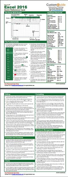 Excel 2016 Quick Reference Card. http://www.customguide.com/cheat_sheets/excel-2016-quick-reference.pdf