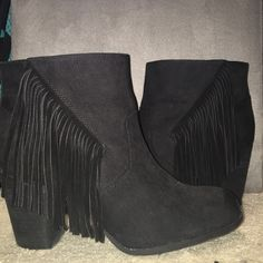 Black Fringe Booties black booties with fringe, worn twice, good condition, fits size 9 as well Madden Girl Shoes Ankle Boots & Booties