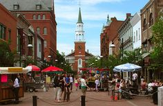 "Burlington, Vermont...""the west coast of the east."" Church Street, a great place to stroll around, eat, shop..."