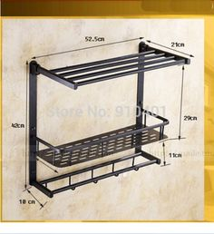 Wholesale And Retail Promotion NEW Oil Rubbed Bronze Bathroom Shelf  Foldable Towel Rack Holder Towel Bar