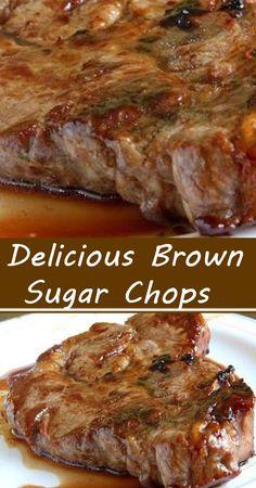 Delicious Brown Sugar Chops Pork Chop Recipes, Meat Recipes, Chicken Recipes, Cooking Recipes, Brown Sugar Pork Chops, Best Pork Recipe, Pork Chop Dinner, Pork Dishes, Baked Pork