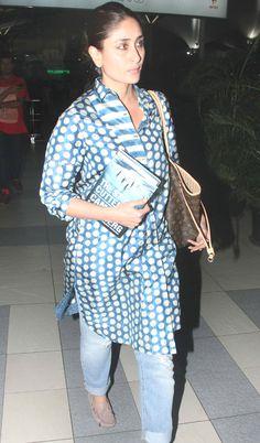 Bollywood actress Kareena Kapoor Khan spotted without makeup at mumbai airport, here you can find her photos.