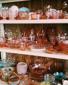 I am coveting some pink depression glass...