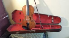 Antique Violin with Wooden Coffin Case