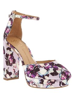 Step up your style in our on-trend platform pump in pink and purple floral silk. These are the perfect heels to pair with jeans and a tee, or a flirty dress for date night | Banana Republic