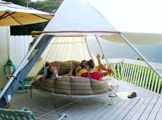Group hammock made from a converted trampoline.