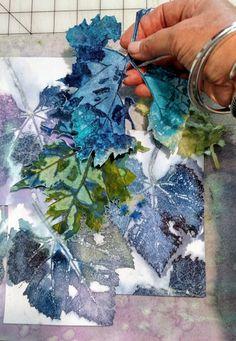 "Watercolour Collage, ""Vivid"" by Botanical Artist, Sheri Trepina Art Techniques, Watercolor Techniques, Fabric Art, Fabric Painting, Leaf Art, Nature Prints, Watercolor Paintings, Painting Abstract, Botanical Prints"