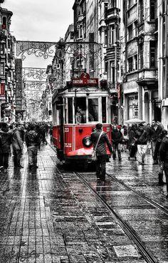 "Taksim: Istanbul, Turkey (""Istıklal and the Old Tram"" by Alper Temizel) Splash Photography, Black And White Photography, Street Photography, Wallpaper Schwarz, Color Splash, Color Pop, Retro Color, Foto Art, Black White Photos"