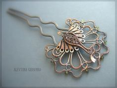 "Alevtina Gersenko, peacock wirework hair comb, this is lovely  - Заколка ""Павлин"""