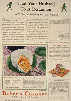 1930 Baker's Coconut Ad ~ Coconut Frosting Recipe, Vintage Baking Ads