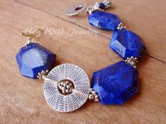 Handcrafted Chunky Lapis Sterling Silver by hogwildjewelry on Etsy, $74.00