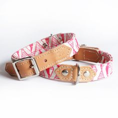 Pretty Pink patterned dog collars. Handmade leather dog collars. Pink geometric print fabric.
