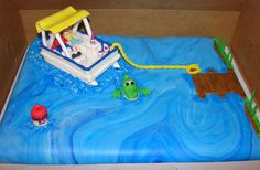 """I really had not paid much attention to how many cakes I let """"float"""" by without posting. 70th Birthday Parties, Birthday Cakes, Birthday Ideas, Cupcake Cakes, Baby Cakes, Cupcakes, Lake Cake, Boat Cake, Nautical Party"""