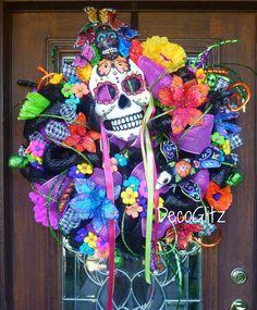 DAY of the DEAD WREATH Día de los Muertos Wreath by decoglitz