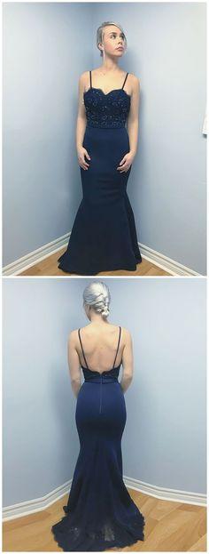 3bba99138e74d Spaghetti Strap Navy Blue Mermaid Prom Dresses Backless Cheap Beaded Formal  Evening Dress M2425