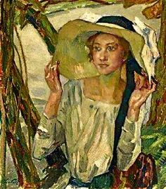 ~ Leo Putz ~ German artist, 1869-1940: Lady With a Florentine Hat