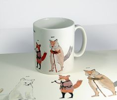 Giz the fox cup Fox Illustration, Illustrations, Fox Collection, Fantastic Fox, Bear Hunting, Fox Print, Black And White Drawing, Ceramic Painting, Spirit Animal