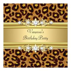 Birthday Party Wild Animal Print Gold Black Card