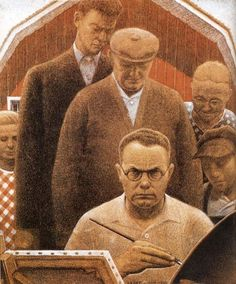 Grant Wood is best known for paintings of rural America in a style known as Regionalism. He died the day before his birthday of pancreatic cancer. American Realism, American Artists, Grant Wood Paintings, Jan Van Eyck, Cultural Capital, American Gothic, Veterans Memorial, Unique Words, American Revolution