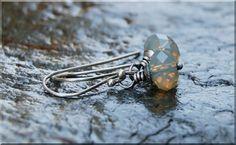 Sand Opal Earrings / Hand Wire Wrapped Earrings / silver crystal earrings / Swarovski Crystal Drop Earrings / Bridesmaid gift jewelry