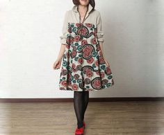 New Fall Fashion Floral Shirt Dress Women Loose von MordenMiss, $59.00
