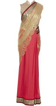Varun Bahl coral sari with chantilly lace pallu from Pernia's Pop Up Shop