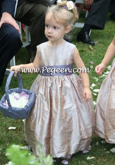 Flower Girl Dresses of the Month in Latte creme and Europeri lilac in Style 398 by Pegeen.com