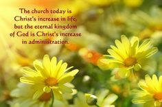 The church today is Christ's increase in life, but the eternal kingdom of God is Christ's increase in administration. More at www.agodman.com