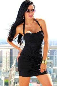 lace trim sweetheart halter clubbing dress