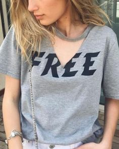 T-shirt Fashion - Letter free cut out t shirt gray hollow v neck for  teenage girls d28dfecbf