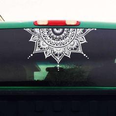 Half Mandala Window Decal - Car Decals Mandala Sticker - Yoga, Boho, Om - Flower Decal - Mens Womens Car Sticker - H4