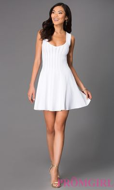 Short Sleeveless White Scoop Neck Dress by Wow Couture Style: WC-B3252