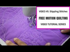 Free Motion Quilting Tutorial Series- Video #5: Stippling and meandering stitches - YouTube..-14:24min- In this video we continue stitching! I'll show you some more beginner exercises to practice and get comfortable free motion quilting on your home sewing machine. Practice these skills and meet me back here for Video #6.