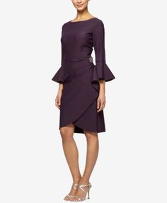 Bell-Sleeve Draped Compression Sheath Dress | macys.com