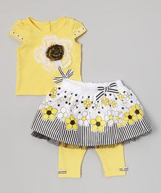 Look at this #zulilyfind! Yellow & Black Floral Skirt Set - Infant by Young Hearts #zulilyfinds