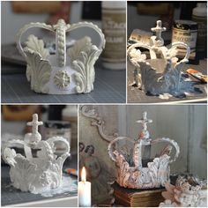 chipboard or thick cardstock-create your base. Make a circle for the bot… chipboard or thick cardstock-create your base. Diy Clay, Clay Crafts, Diy And Crafts, Paper Crafts, Make A Crown, Diy Crown, Deco Baroque, Crown Decor, Clay Art Projects