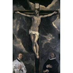 Christ on the Cross Adored by Two Donors 16th C El Greco (1541-1614Greek) Musee du Louvre Paris Canvas Art - El Greco (18 x 24)