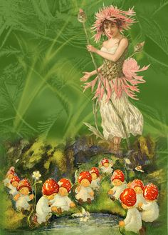 Here is a fairy queen overseeing all the little fairy sprouts that will soon populate the enchanted forest.