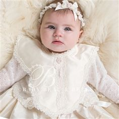 Newborn Girl Bib - Penelope Christening/Baptism Collection - Adorable Gowns & Bibs